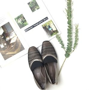 Metallic knitted loafers